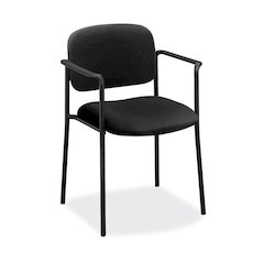basyx by HON HVL616 Stacking Guest Chair | Fixed Arms | Black Fabric