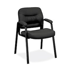 basyx by HON HVL643 Guest Chair | Fixed Arms | Black SofThread Leather