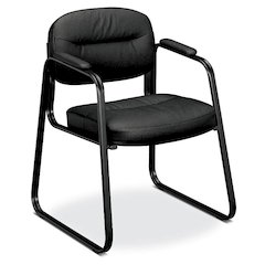 basyx by HON HVL653 Sled Base Guest Chair | Fixed Arms | Black SofThread Leather
