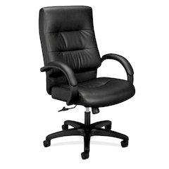 basyx by HON HVL691 Executive High-Back Chair   Center-Tilt   Fixed Arms   Black SofThread Leather