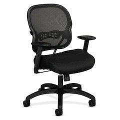 basyx by HON HVL712 Mesh Mid-Back Chair   Synchro-Tilt, Tension, Lock   Adjustable Arms   Black Mesh Back   Black Sandwich Mesh Seat