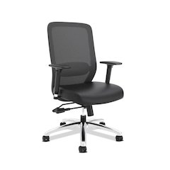 basyx by HON HVL721 Mesh High-Back Task Chair | Synchro-Tilt, Lumbar, Seat Glide | 2-Way Arms | Black SofThread Leather
