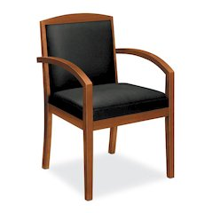 basyx by HON HVL853 Guest Chair   Fixed Arms   Wood Frame   Bourbon Cherry Finish   Black SofThread Leather