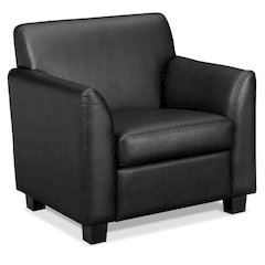 basyx by HON HVL871 Tailored Club Chair | Black SofThread Leather