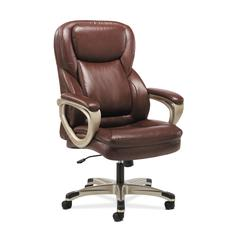 Sadie Executive Computer Chair- Fixed Arms for Office Desk, Brown Leather (HVST326)