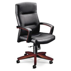 HON Park Avenue Collection Executive High-Back Chair | Mid-Range Knee-Tilt, Tension, Lock | Fixed Arms | Wood Trim | Mahogany Finish | Black Leather