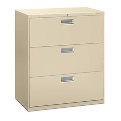 """HON Brigade 600 Series Lateral File   3 Drawers   Bright Aluminum Pull   36""""W x 19-1/4""""D x 40-7/8""""H   Putty Finish"""