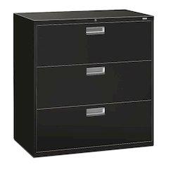 "HON Brigade 600 Series Lateral File   3 Drawers   Bright Aluminum Pull   42""W x 19-1/4""D x 40-7/8""H   Black Finish"