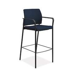 HON Accommodate Cafe Stool | Fixed Arms | Navy Fabric | Textured Black Frame