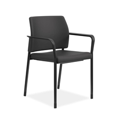 HON Accommodate Guest Chair | Fixed Arms | Casters and Glides | Black Fabric | Textured Black Frame
