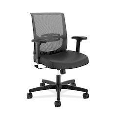 HON Convergence Task Chair | Swivel Tilt Control | Height- and Width-Adjustable Arms | Adjustable Lumbar Support | Black Vinyl Seat