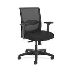 HON Convergence Task Chair | Synchro-Tilt With Seat Slide Control | Height- and Width-Adjustable Arms | Adjustable Lumbar Support | Black Seat Fabric