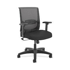 HON Convergence Task Chair | Swivel Tilt Control | Height- and Width-Adjustable Arms | Adjustable Lumbar Support | Black Seat Fabric