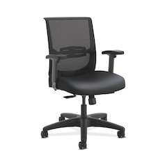 HON Convergence Task Chair | Synchro-Tilt With Seat Slide Control | Height- and Width-Adjustable Arms | Adjustable Lumbar Support | Black Vinyl Seat