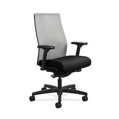 Ignition 2.0 Mid-Back Task Chair | Fog ilira-Stretch Mesh Back| Adjustable Lumbar Support | Black Fabric