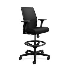 HON Ignition ilira-Stretch Mesh Back Task Stool | Limited Synchro-Tilt Control | Height- and Width-Adjustable Arms | Adjustable Lumbar Support | Hard Casters | Black ilira-Stretch Mesh Back | Black Se