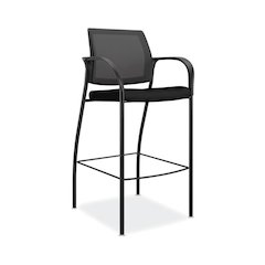 HON Ignition Cafe Height 4-Leg Stool | Fixed Arms | Glides | Black ilira-Stretch Mesh Back | Black Seat Fabric | Black Frame