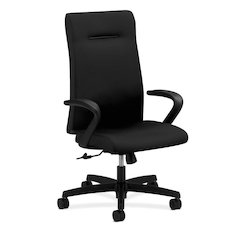 HON Ignition Executive High-Back Task Chair | Fixed Arms | Hard Casters | Upholstered Back | Black Fabric | Standard Base
