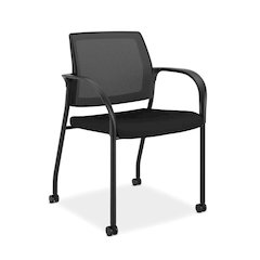 HON Ignition Multi-Purpose Stacking Chair | 4-Leg | Fixed Arms | All Surface Casters | Black ilira-Stretch Mesh Back | Black Seat Fabric | Black Frame