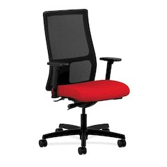 HON Ignition Mid-Back Task Chair | Height- and Width-Adjustable Arms | Hard Casters | Black ilira-Stretch Mesh Back | Ruby Seat Fabric | Black Frame | Standard Base
