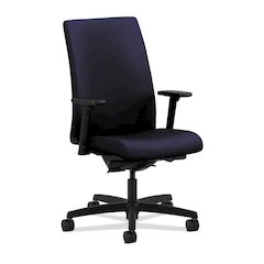 HON Ignition Mid-Back Task Chair | Height- and Width-Adjustable Arms | Hard Casters | Upholstered Back | Navy Seat Fabric | Black Frame | Standard Base