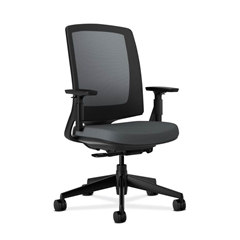 HON Lota Mesh Back Chair | Weight-Activated Tilt, Upright Lock | Adjustable Arms | Charcoal Fabric