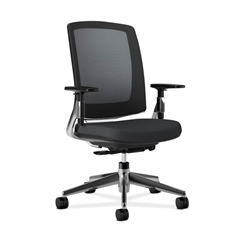 HON Lota Mesh Back Chair | Weight-Activated Tilt, Upright Lock | Adjustable Arms | Black Fabric