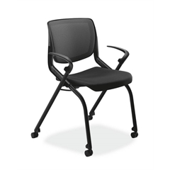 HON Motivate Nesting Stacking Chair | Black Ilira Stretch Back | Fixed Arms | Onyx Shell | Black Frame | Black Fabric