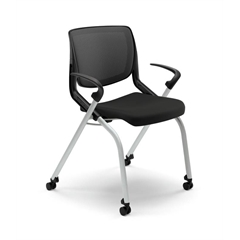 HON Motivate Nesting Stacking Chair | Black Ilira Stretch Back | Fixed Arms | Onyx Shell | Platinum Frame | Black Fabric