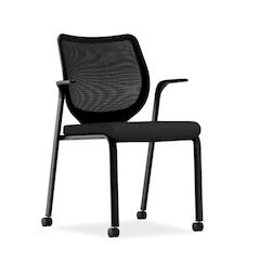 HON Nucleus Knit Back Stacking Chair | Fixed Arms | Glides | Black ilira-Stretch | Black Frame | Black Fabric