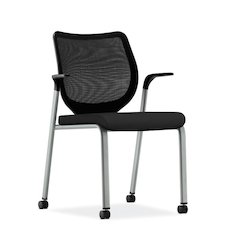 HON Nucleus Knit Back Stacking Chair | Fixed Arms | Glides | Black ilira-Stretch | Platinum Metallic Frame | Black Fabric