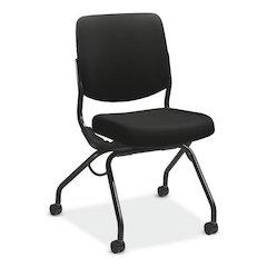 HON Perpetual Upholstered Back Nesting Chair | Flexing Back Motion | Casters | Black Frame | Black Fabric