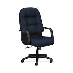 HON Pillow-Soft Executive High-Back Chair | Center-Tilt, Tension, Lock | Fixed Arms | Navy Fabric
