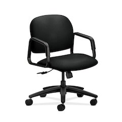 HON Solutions Seating Mid-Back Chair   Center-Tilt, Tension, Lock   Fixed Arms   Black Fabric
