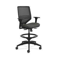 HON Solve Mid-Back Task Stool | Black Knit Mesh Back | Adjustable Arms | Adjustable Lumbar | Black Frame |  Ink Seat Fabric