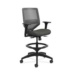 HON Solve Mid-Back Task Stool | Charcoal ReActiv Back | Adjustable Arms | Adjustable Lumbar | Black Frame |  Ink Seat Fabric
