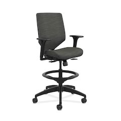 HON Solve Mid-Back Task Stool | Upholstered Charcoal ReActiv Back | Adjustable Arms | Adjustable Lumbar | Black Frame |  Ink Seat Fabric