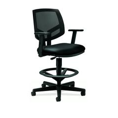 HON Volt Mesh Back Task Stool | Extended Height, Footring | Adjustable Arms | Black SofThread Leather