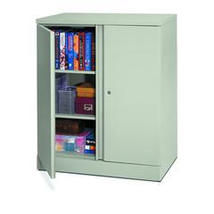 "HON Metal Storage Cabinet   3 Shelves   42""H x 18""D   Light Gray Finish"