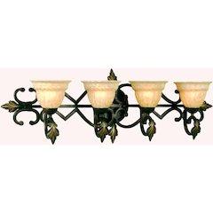 Provencal Four Light Vanity- Golden Glow Glass