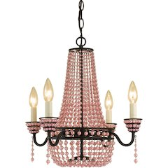 Parlor Mini Chandelier- Pink Beads