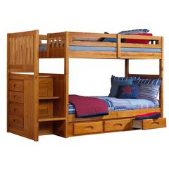 Springside Twin/Twin Stair Bunk-T&B Up,Stair,Guard,Rail,Slat,3-Drw Strge