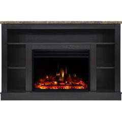 """47.2""""x15.7""""x32.5"""" Seville Fireplace Mantel w/ Deep & Enhanced Log Insert"""