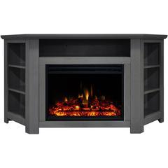 "56""x15.4""x30.4"" Stratford Fireplace Mantel w/Deep & Enhanced Log Insert"