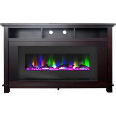 "57.8"" x 14.4"" x 35"" San Jose Fireplace Mantel with 50"" Log Insert"