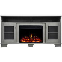 "59.1""x17.7""x31.7"" Savona Fireplace Mantel w/Deep & Enhanced Log Insert"
