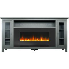 """69.7""""x13.4""""x38.6"""" Somerset Fireplace Mantel with 42"""" Crystal Insert"""