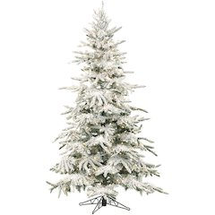 7.5 Ft. Flocked Mountain Pine Christmas Tree with Clear LED String Lighting