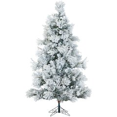 9 Ft. Flocked Snowy Pine Christmas Tree with Clear LED String Lighting