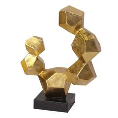 Gold Leaf Geometric Sculpture on Black Base - Small